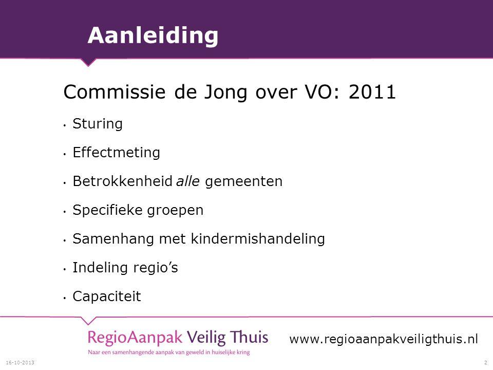 Aanleiding Commissie de Jong over VO: 2011 Sturing Effectmeting Betrokkenheid alle gemeenten Specifieke groepen Samenhang met kindermishandeling Indeling regio's Capaciteit 16-10-20132 www.regioaanpakveiligthuis.nl