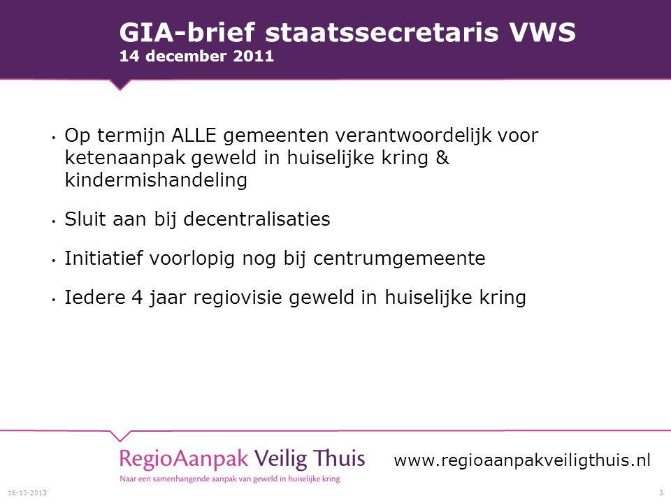 GIA-brief staatssecretaris VWS 14 december 2011 Op termijn ALLE gemeenten verantwoordelijk voor ketenaanpak geweld in huiselijke kring & kindermishand