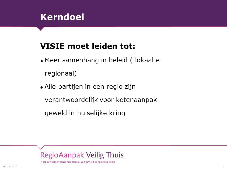 Kerndoel VISIE moet leiden tot: Meer samenhang in beleid ( lokaal e regionaal) Alle partijen in een regio zijn verantwoordelijk voor ketenaanpak geweld in huiselijke kring 16-10-20134