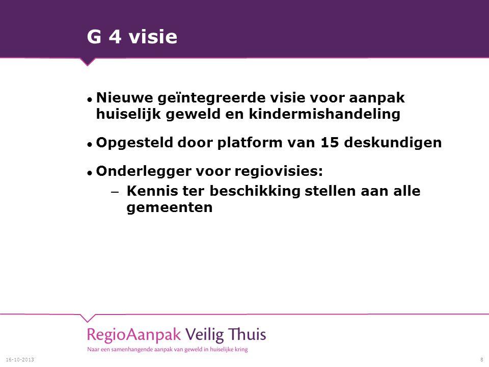 G 4 visie Nieuwe geïntegreerde visie voor aanpak huiselijk geweld en kindermishandeling Opgesteld door platform van 15 deskundigen Onderlegger voor regiovisies: – Kennis ter beschikking stellen aan alle gemeenten 16-10-20138