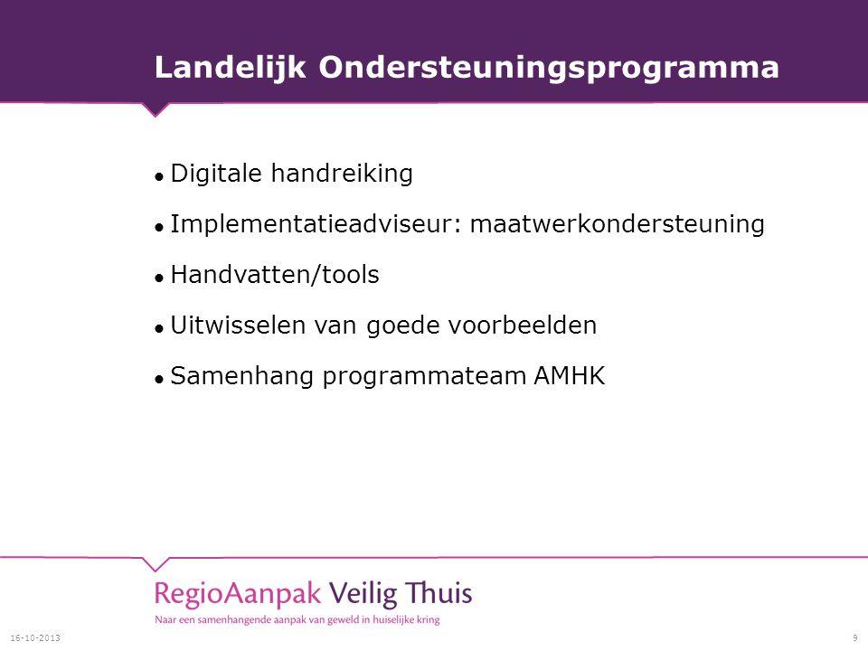 Landelijk Ondersteuningsprogramma Digitale handreiking Implementatieadviseur: maatwerkondersteuning Handvatten/tools Uitwisselen van goede voorbeelden Samenhang programmateam AMHK 16-10-20139