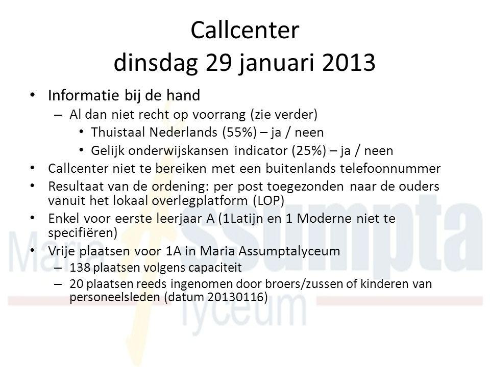 Callcenter dinsdag 29 januari 2013 Informatie bij de hand – Al dan niet recht op voorrang (zie verder) Thuistaal Nederlands (55%) – ja / neen Gelijk onderwijskansen indicator (25%) – ja / neen Callcenter niet te bereiken met een buitenlands telefoonnummer Resultaat van de ordening: per post toegezonden naar de ouders vanuit het lokaal overlegplatform (LOP) Enkel voor eerste leerjaar A (1Latijn en 1 Moderne niet te specifiëren) Vrije plaatsen voor 1A in Maria Assumptalyceum – 138 plaatsen volgens capaciteit – 20 plaatsen reeds ingenomen door broers/zussen of kinderen van personeelsleden (datum 20130116)