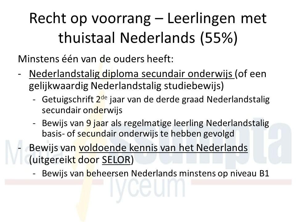 Recht op voorrang – Leerlingen met thuistaal Nederlands (55%) Minstens één van de ouders heeft: -Nederlandstalig diploma secundair onderwijs (of een gelijkwaardig Nederlandstalig studiebewijs) -Getuigschrift 2 de jaar van de derde graad Nederlandstalig secundair onderwijs -Bewijs van 9 jaar als regelmatige leerling Nederlandstalig basis- of secundair onderwijs te hebben gevolgd -Bewijs van voldoende kennis van het Nederlands (uitgereikt door SELOR) -Bewijs van beheersen Nederlands minstens op niveau B1
