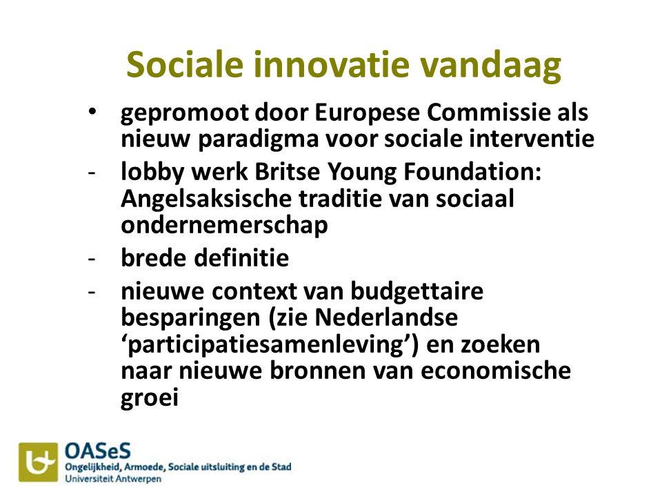 Sociale innovatie vandaag gepromoot door Europese Commissie als nieuw paradigma voor sociale interventie -lobby werk Britse Young Foundation: Angelsak