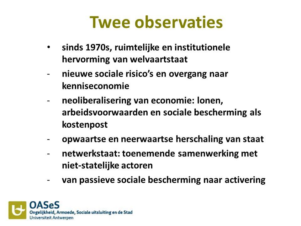 Twee observaties sinds 1970s, ruimtelijke en institutionele hervorming van welvaartstaat -nieuwe sociale risico's en overgang naar kenniseconomie -neo