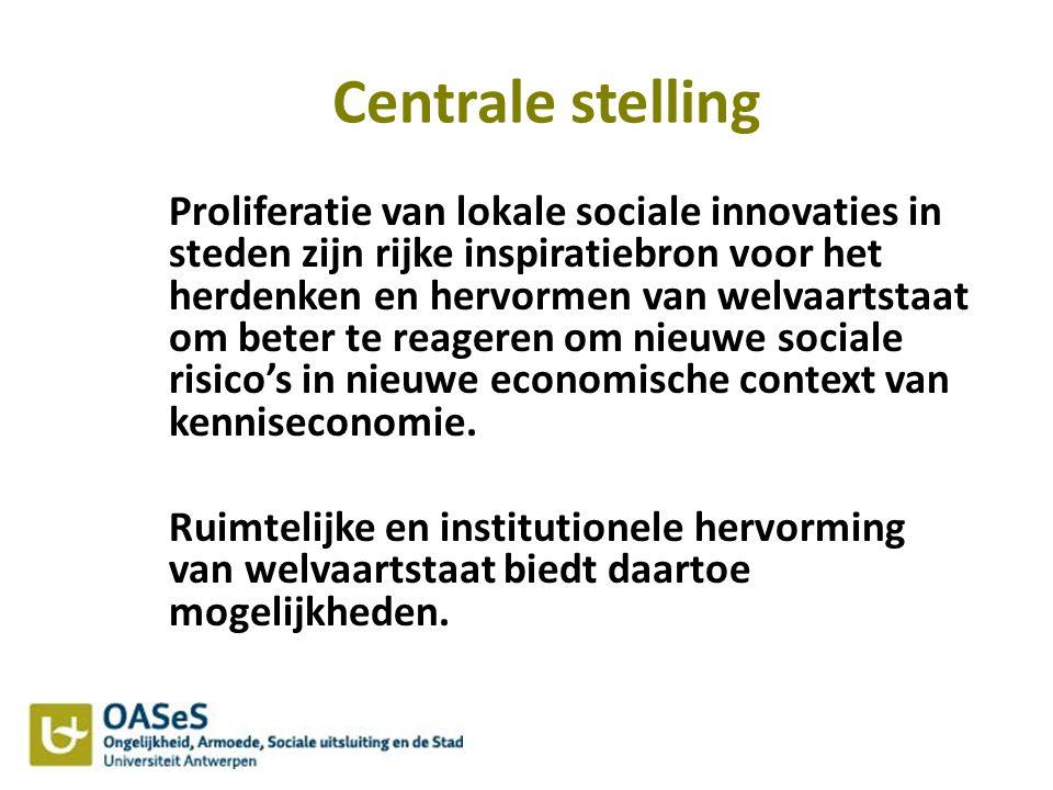 Centrale stelling Proliferatie van lokale sociale innovaties in steden zijn rijke inspiratiebron voor het herdenken en hervormen van welvaartstaat om