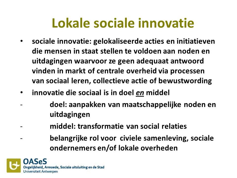 Lokale sociale innovatie sociale innovatie: gelokaliseerde acties en initiatieven die mensen in staat stellen te voldoen aan noden en uitdagingen waar
