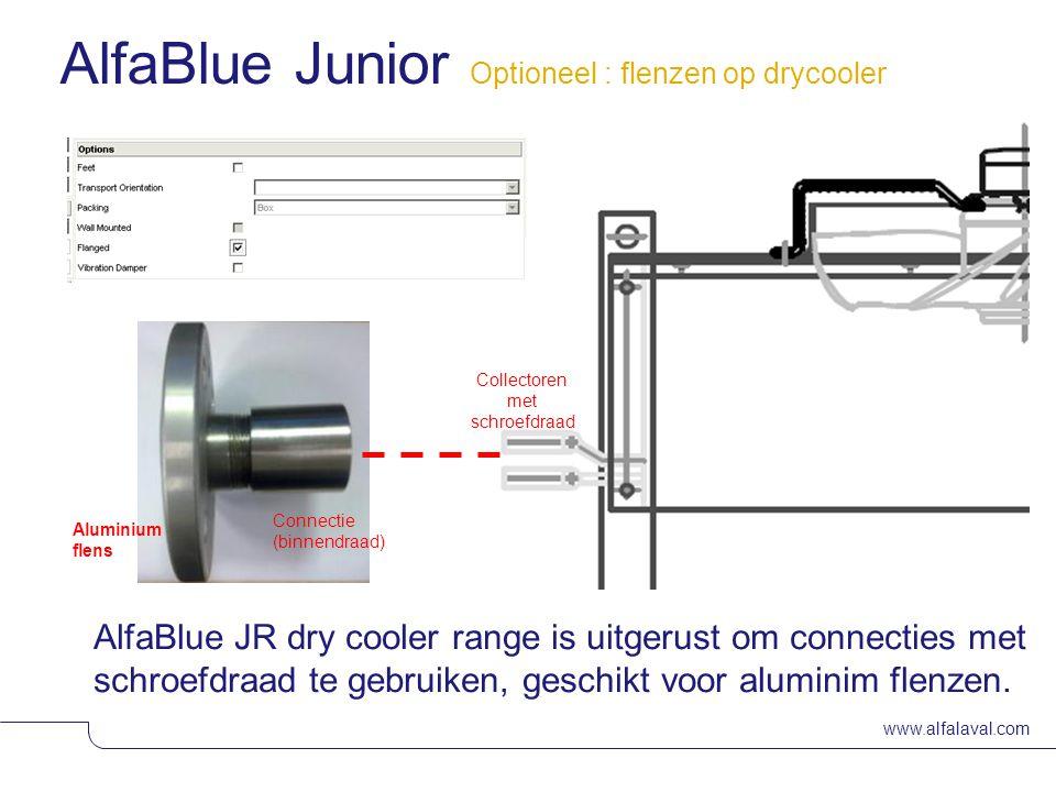 www.alfalaval.com Slide 14 AlfaBlue JR dry cooler range is uitgerust om connecties met schroefdraad te gebruiken, geschikt voor aluminim flenzen.