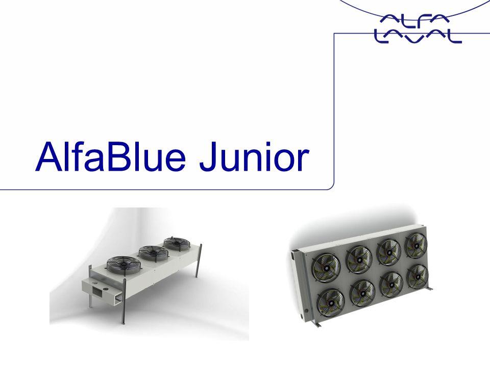 www.alfalaval.com AlfaBlue Junior Product gamma Beschikbaar in volgende uitvoeringen : –Axiaal Condenser (Ontwerpdruk = 31 bar) –Axiaal Condenser (Ontwerpdruk = 45 bar) voor R410A; –Axiaal Dry Cooler (Ontwerpdruk = 9 bar)