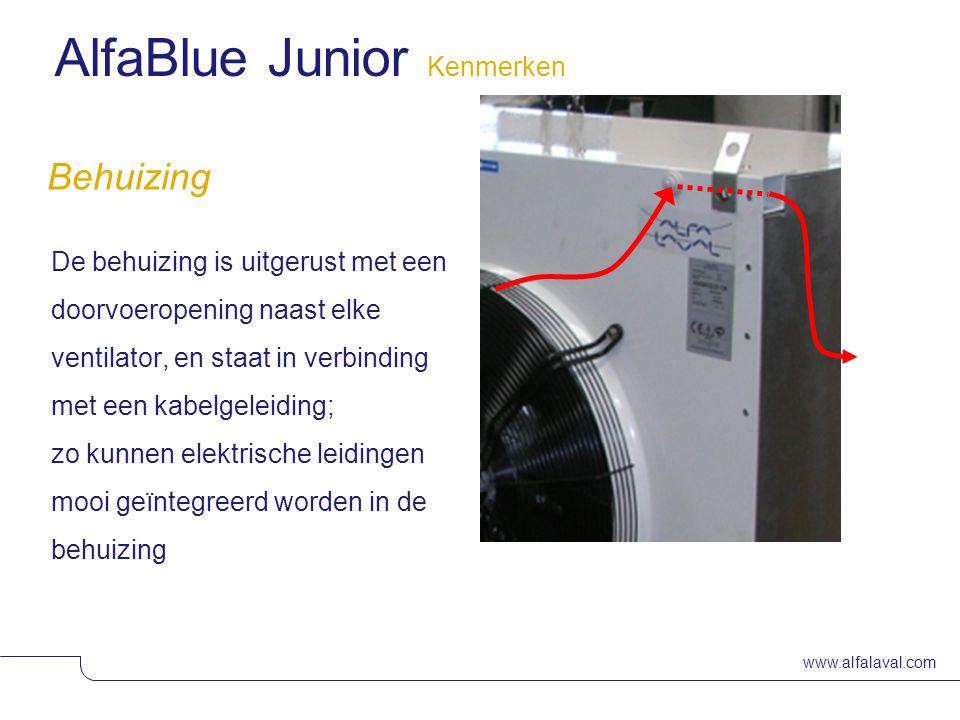 www.alfalaval.com Slide 9 Behuizing De behuizing is uitgerust met een doorvoeropening naast elke ventilator, en staat in verbinding met een kabelgeleiding; zo kunnen elektrische leidingen mooi geïntegreerd worden in de behuizing AlfaBlue Junior Kenmerken
