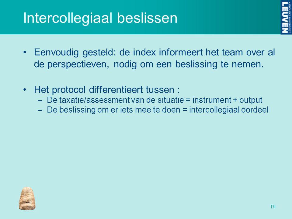 Intercollegiaal beslissen Eenvoudig gesteld: de index informeert het team over al de perspectieven, nodig om een beslissing te nemen. Het protocol dif