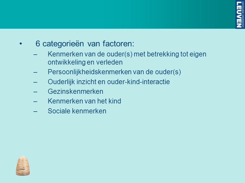 6 categorieën van factoren: –Kenmerken van de ouder(s) met betrekking tot eigen ontwikkeling en verleden –Persoonlijkheidskenmerken van de ouder(s) –O