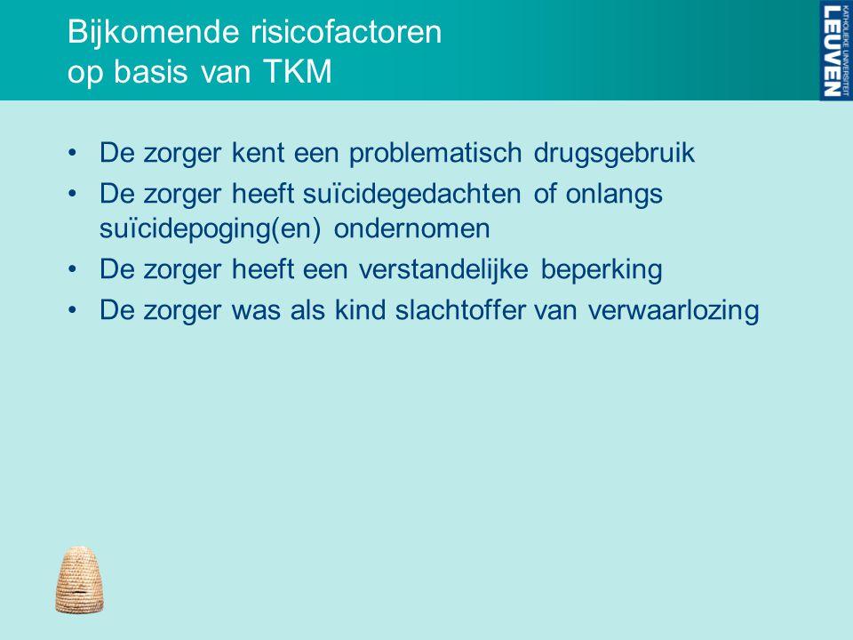 Bijkomende risicofactoren op basis van TKM De zorger kent een problematisch drugsgebruik De zorger heeft suïcidegedachten of onlangs suïcidepoging(en)