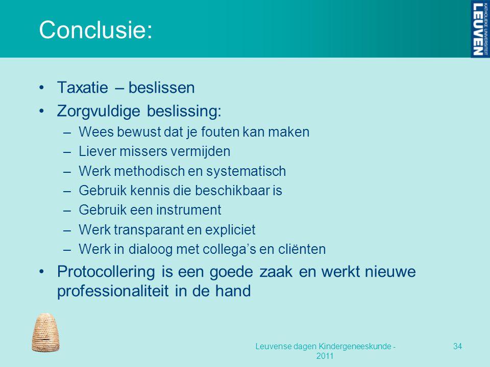 Conclusie: Taxatie – beslissen Zorgvuldige beslissing: –Wees bewust dat je fouten kan maken –Liever missers vermijden –Werk methodisch en systematisch