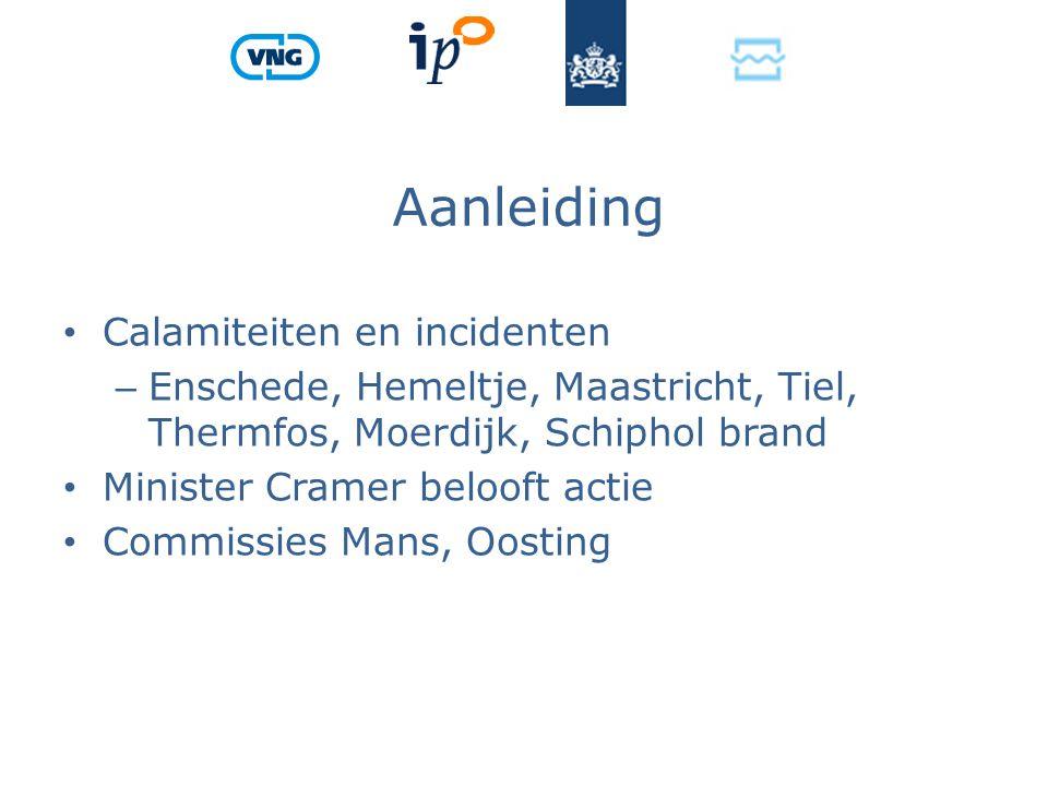 Aanleiding Calamiteiten en incidenten – Enschede, Hemeltje, Maastricht, Tiel, Thermfos, Moerdijk, Schiphol brand Minister Cramer belooft actie Commissies Mans, Oosting