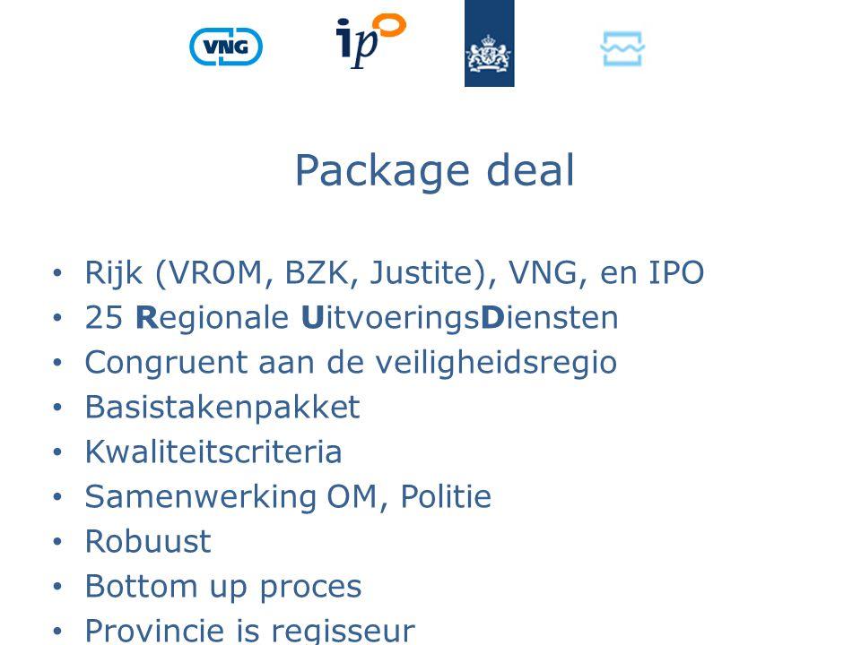 Package deal Rijk (VROM, BZK, Justite), VNG, en IPO 25 Regionale UitvoeringsDiensten Congruent aan de veiligheidsregio Basistakenpakket Kwaliteitscriteria Samenwerking OM, Politie Robuust Bottom up proces Provincie is regisseur