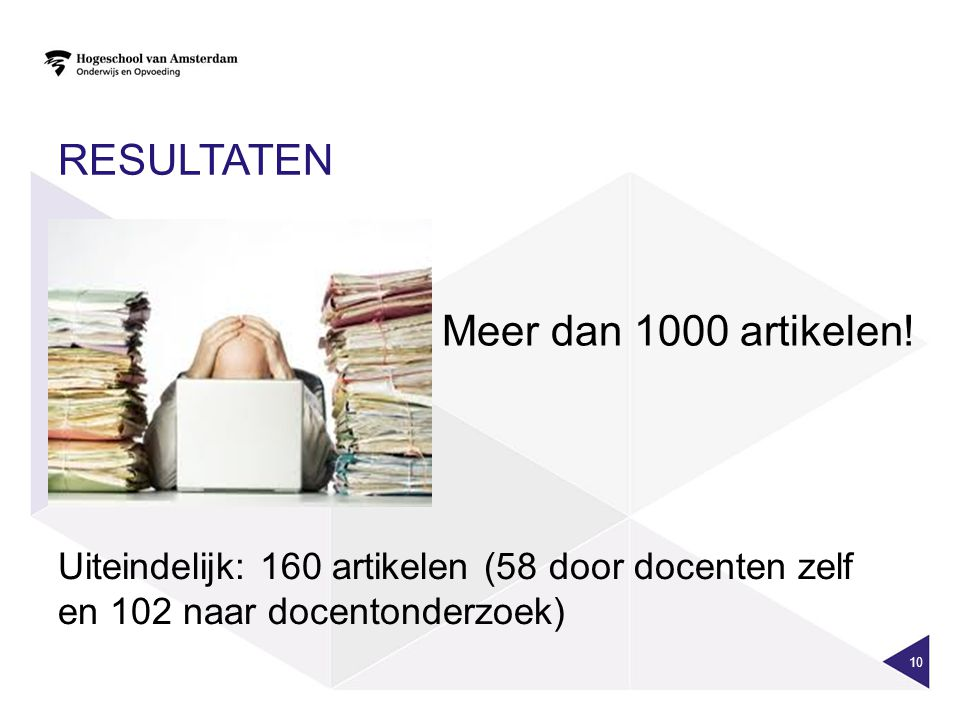 RESULTATEN 10 Meer dan 1000 artikelen! Uiteindelijk: 160 artikelen (58 door docenten zelf en 102 naar docentonderzoek)