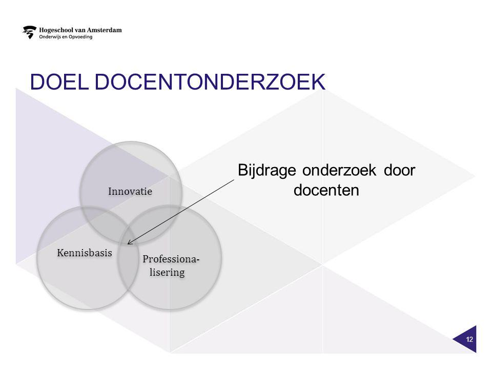 DOEL DOCENTONDERZOEK 12 Innovatie Kennisbasis Kennisbasis Professiona- lisering Professiona- lisering Bijdrage onderzoek door docenten