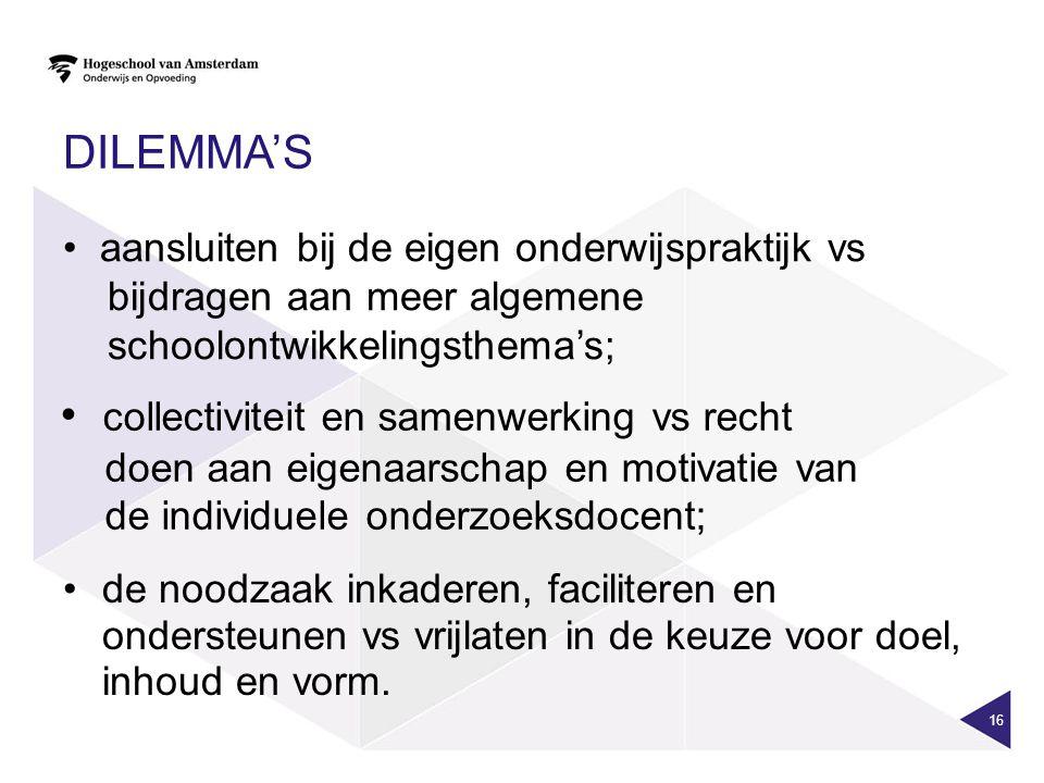 DILEMMA'S 16 aansluiten bij de eigen onderwijspraktijk vs bijdragen aan meer algemene schoolontwikkelingsthema's; collectiviteit en samenwerking vs re