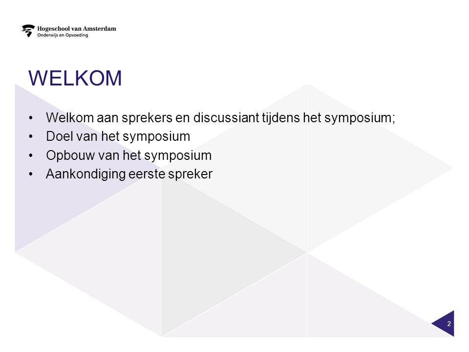 WELKOM Welkom aan sprekers en discussiant tijdens het symposium; Doel van het symposium Opbouw van het symposium Aankondiging eerste spreker 2
