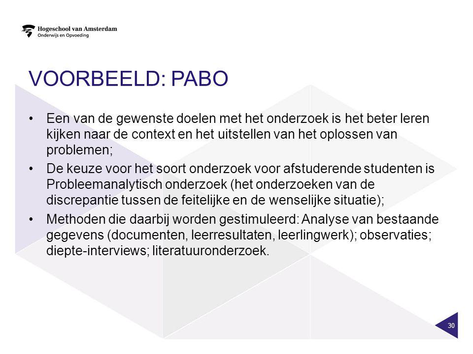 VOORBEELD: PABO Een van de gewenste doelen met het onderzoek is het beter leren kijken naar de context en het uitstellen van het oplossen van probleme
