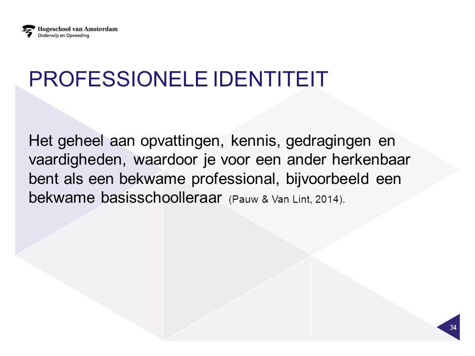 PROFESSIONELE IDENTITEIT Het geheel aan opvattingen, kennis, gedragingen en vaardigheden, waardoor je voor een ander herkenbaar bent als een bekwame professional, bijvoorbeeld een bekwame basisschoolleraar (Pauw & Van Lint, 2014).