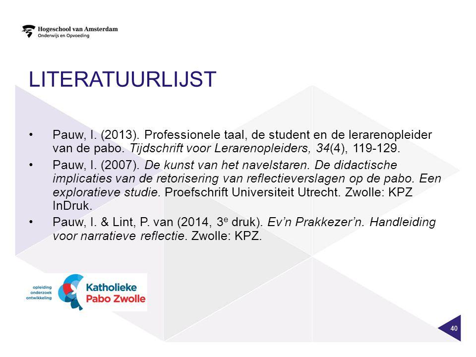 LITERATUURLIJST Pauw, I. (2013). Professionele taal, de student en de lerarenopleider van de pabo. Tijdschrift voor Lerarenopleiders, 34(4), 119-129.