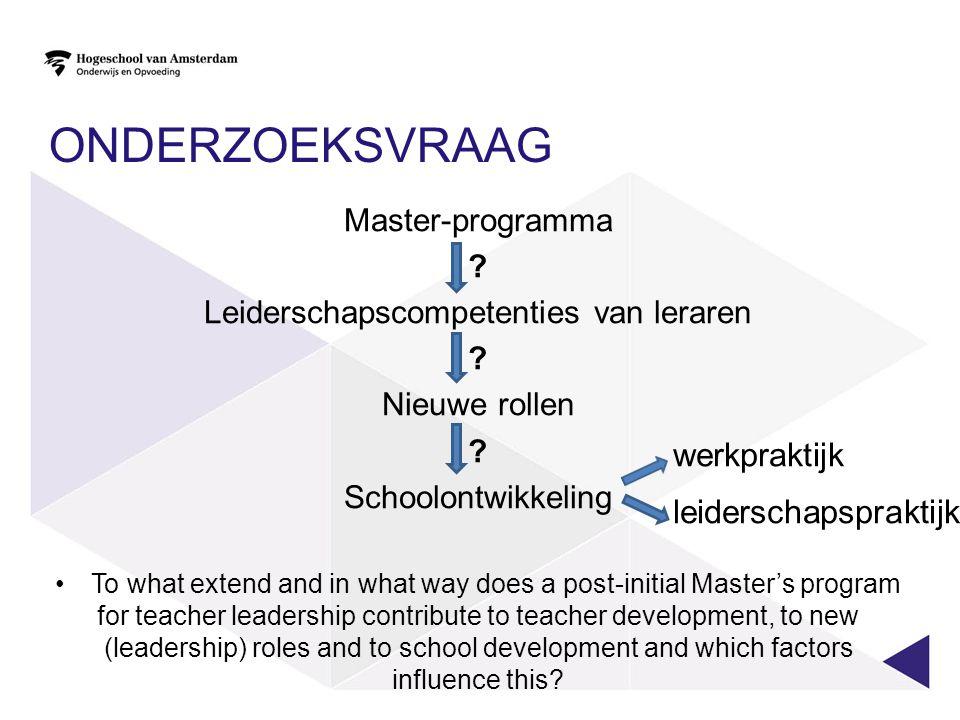 ONDERZOEKSVRAAG Master-programma ? Leiderschapscompetenties van leraren ? Nieuwe rollen ? Schoolontwikkeling To what extend and in what way does a pos
