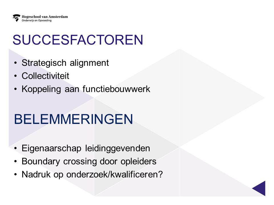 SUCCESFACTOREN Strategisch alignment Collectiviteit Koppeling aan functiebouwwerk BELEMMERINGEN Eigenaarschap leidinggevenden Boundary crossing door opleiders Nadruk op onderzoek/kwalificeren?
