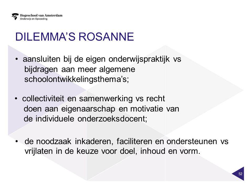 DILEMMA'S ROSANNE 52 aansluiten bij de eigen onderwijspraktijk vs bijdragen aan meer algemene schoolontwikkelingsthema's; collectiviteit en samenwerki