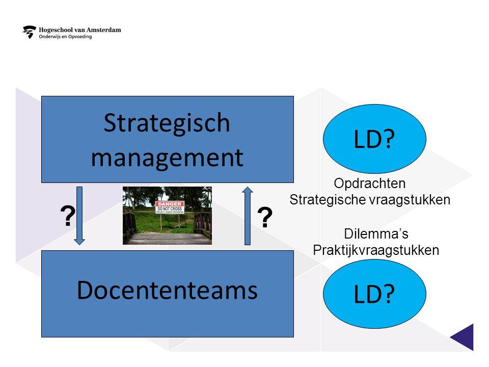 Docententeams Strategisch management ? ? LD? Opdrachten Strategische vraagstukken Dilemma's Praktijkvraagstukken
