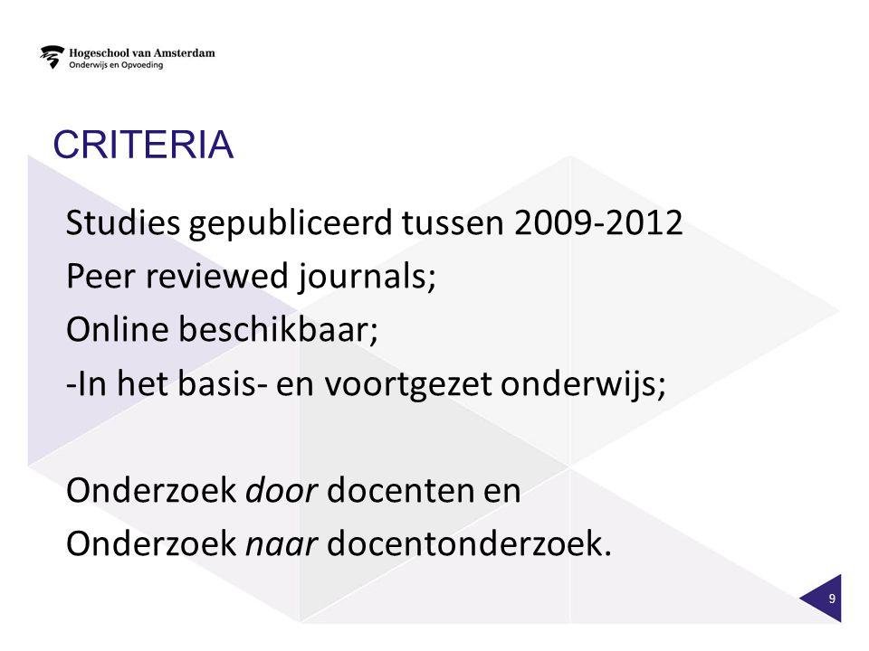 CRITERIA 9 Studies gepubliceerd tussen 2009-2012 Peer reviewed journals; Online beschikbaar; -In het basis- en voortgezet onderwijs; Onderzoek door do