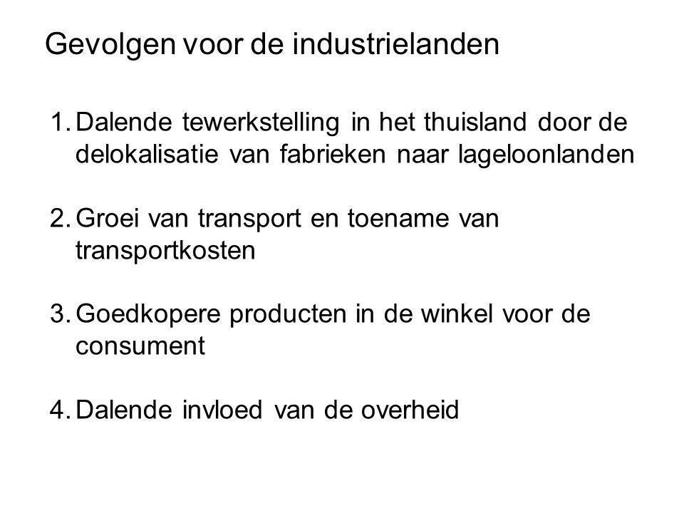 Gevolgen voor de industrielanden 1.Dalende tewerkstelling in het thuisland door de delokalisatie van fabrieken naar lageloonlanden 2.Groei van transport en toename van transportkosten 3.Goedkopere producten in de winkel voor de consument 4.Dalende invloed van de overheid