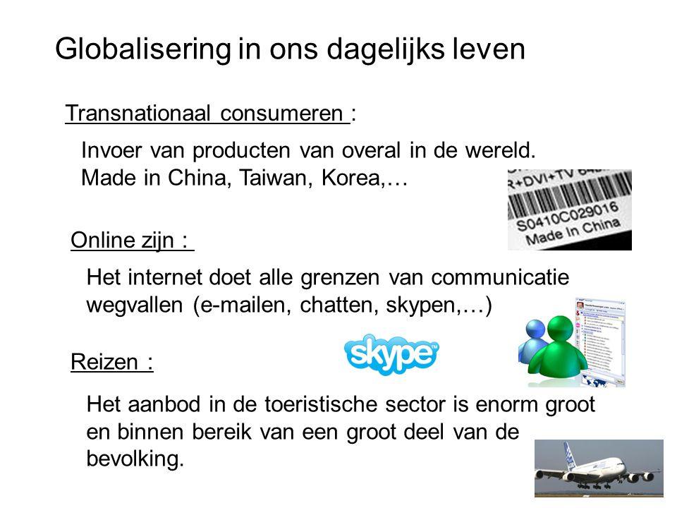 Globalisering in ons dagelijks leven Transnationaal consumeren : Online zijn : Reizen : Invoer van producten van overal in de wereld.