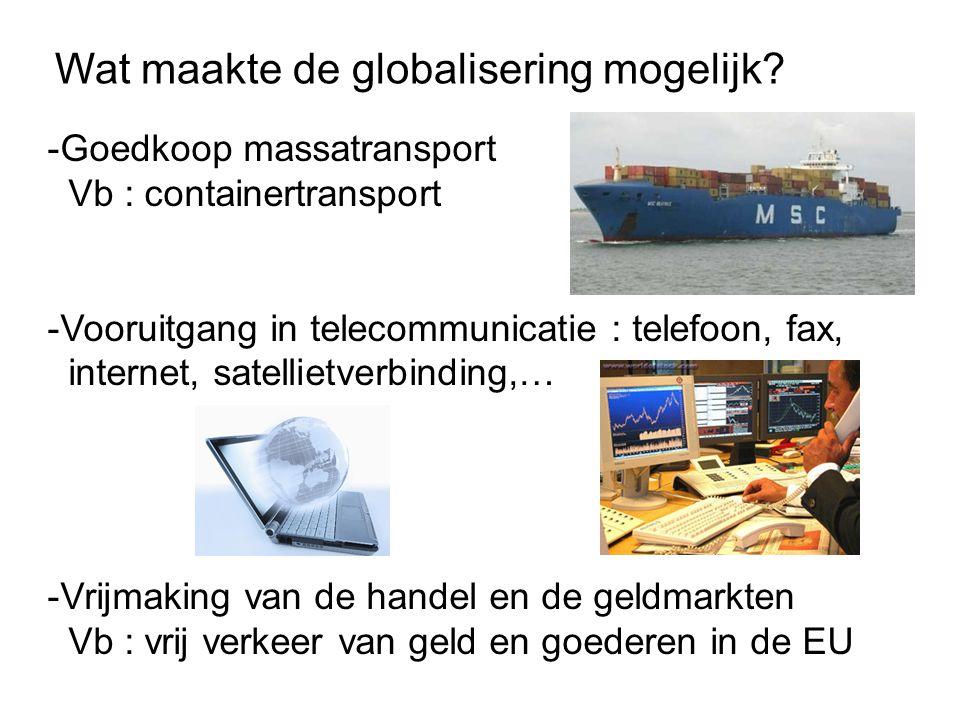 Globalisering op economisch vlak Delokalisatie van de economische activiteiten .