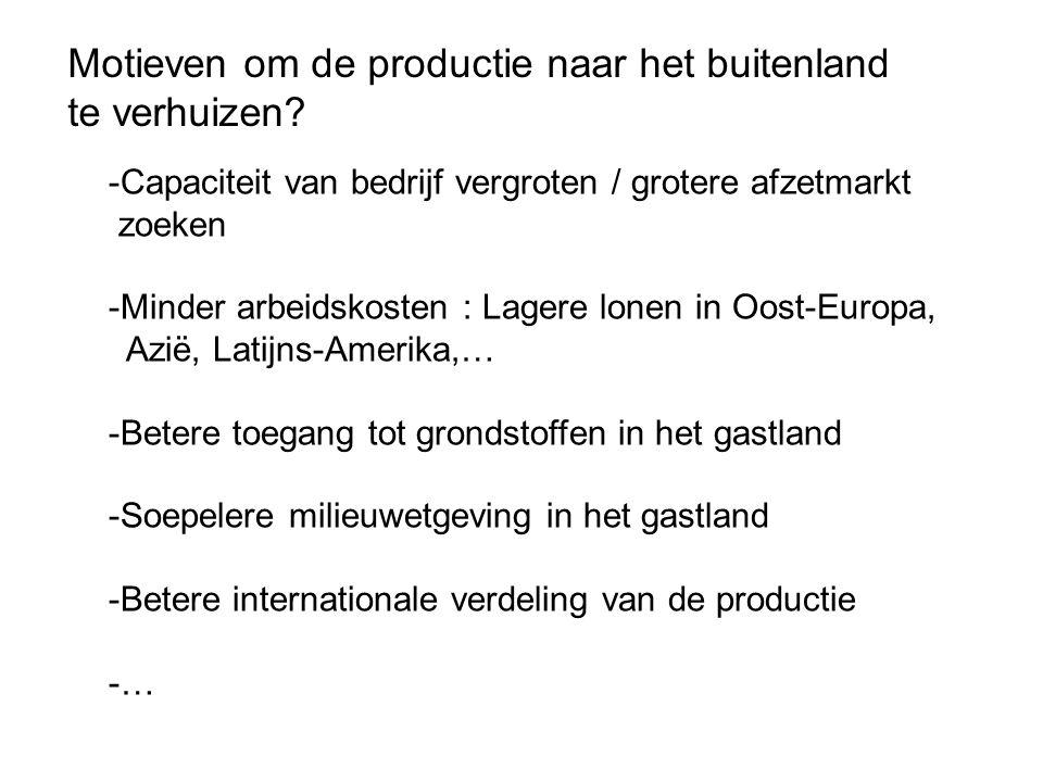 Motieven om de productie naar het buitenland te verhuizen.