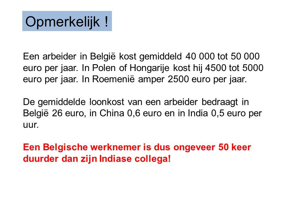 Een arbeider in België kost gemiddeld 40 000 tot 50 000 euro per jaar.