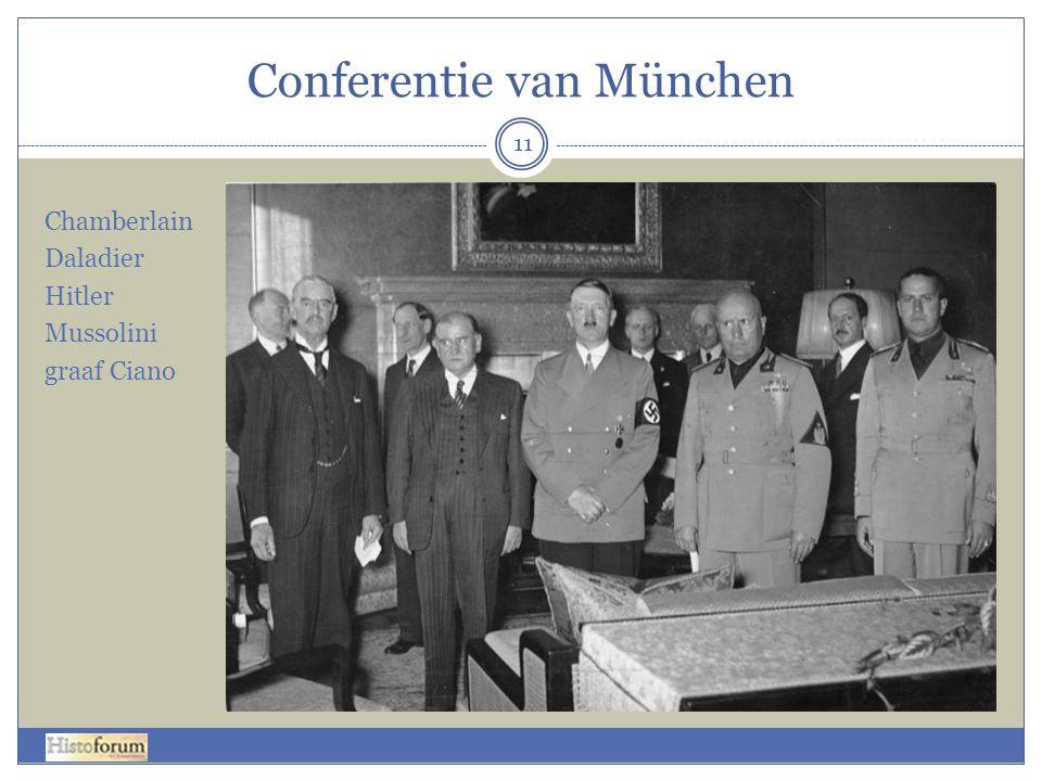 Conferentie van München 11 Chamberlain Daladier Hitler Mussolini graaf Ciano