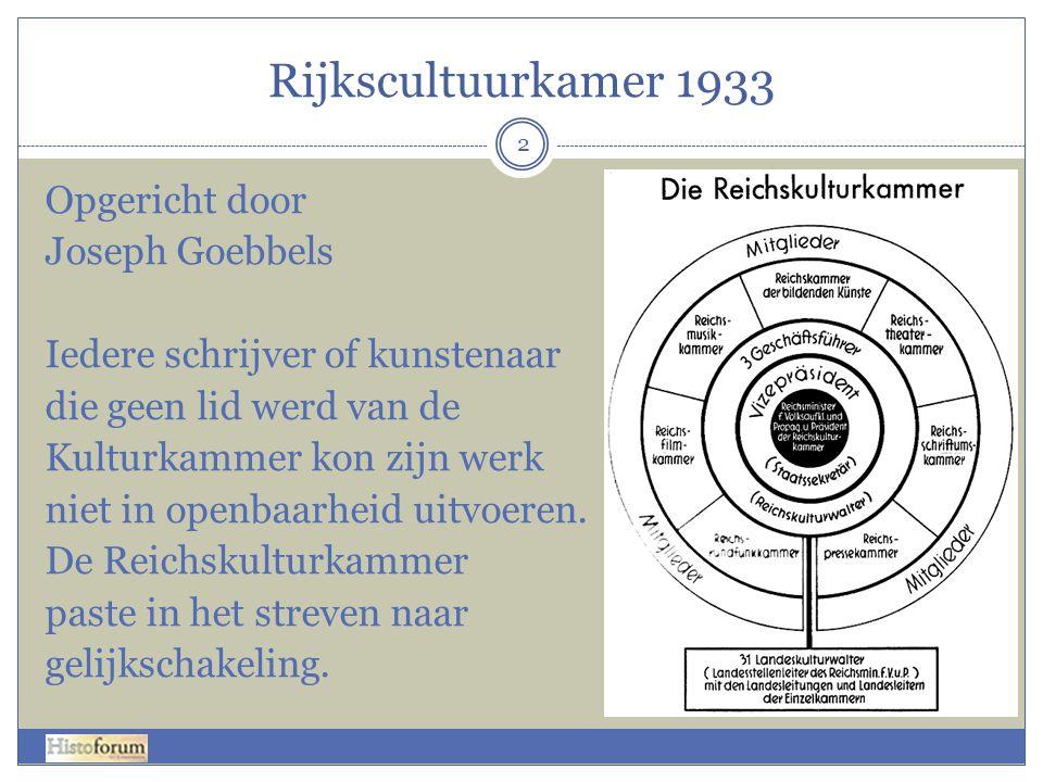 Rijkscultuurkamer 1933 2 Opgericht door Joseph Goebbels Iedere schrijver of kunstenaar die geen lid werd van de Kulturkammer kon zijn werk niet in ope