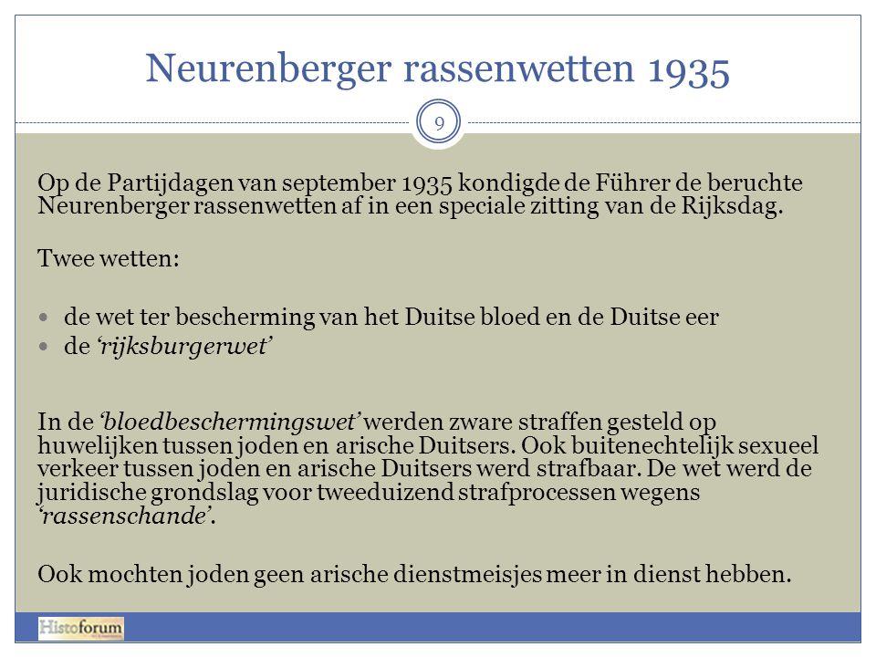 Neurenberger rassenwetten 1935 9 Op de Partijdagen van september 1935 kondigde de Führer de beruchte Neurenberger rassenwetten af in een speciale zitt