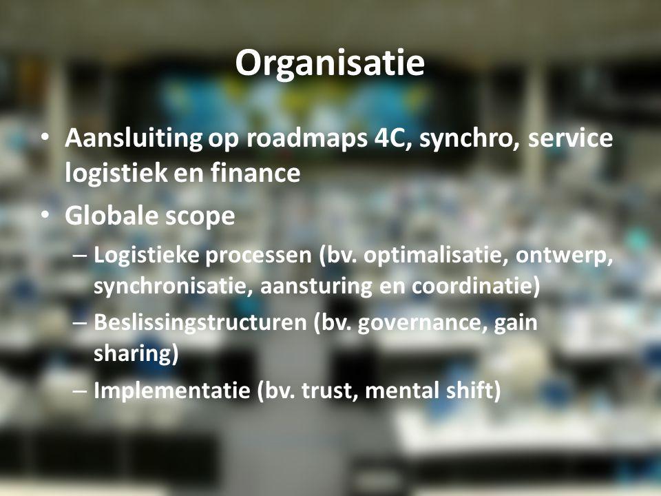 Organisatie Aansluiting op roadmaps 4C, synchro, service logistiek en finance Globale scope – Logistieke processen (bv. optimalisatie, ontwerp, synchr