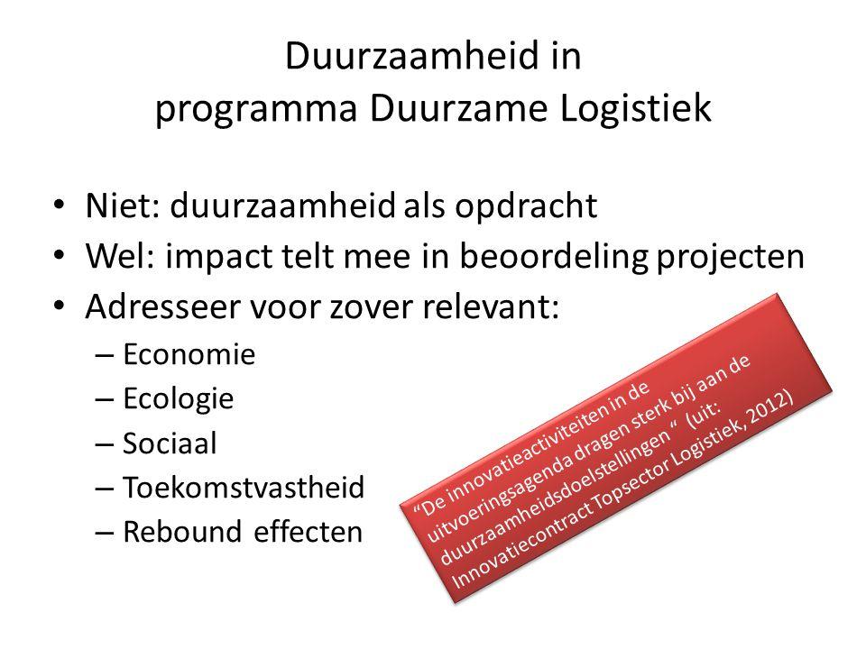 Duurzaamheid in programma Duurzame Logistiek Niet: duurzaamheid als opdracht Wel: impact telt mee in beoordeling projecten Adresseer voor zover releva