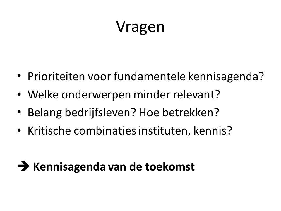 Vragen Prioriteiten voor fundamentele kennisagenda? Welke onderwerpen minder relevant? Belang bedrijfsleven? Hoe betrekken? Kritische combinaties inst