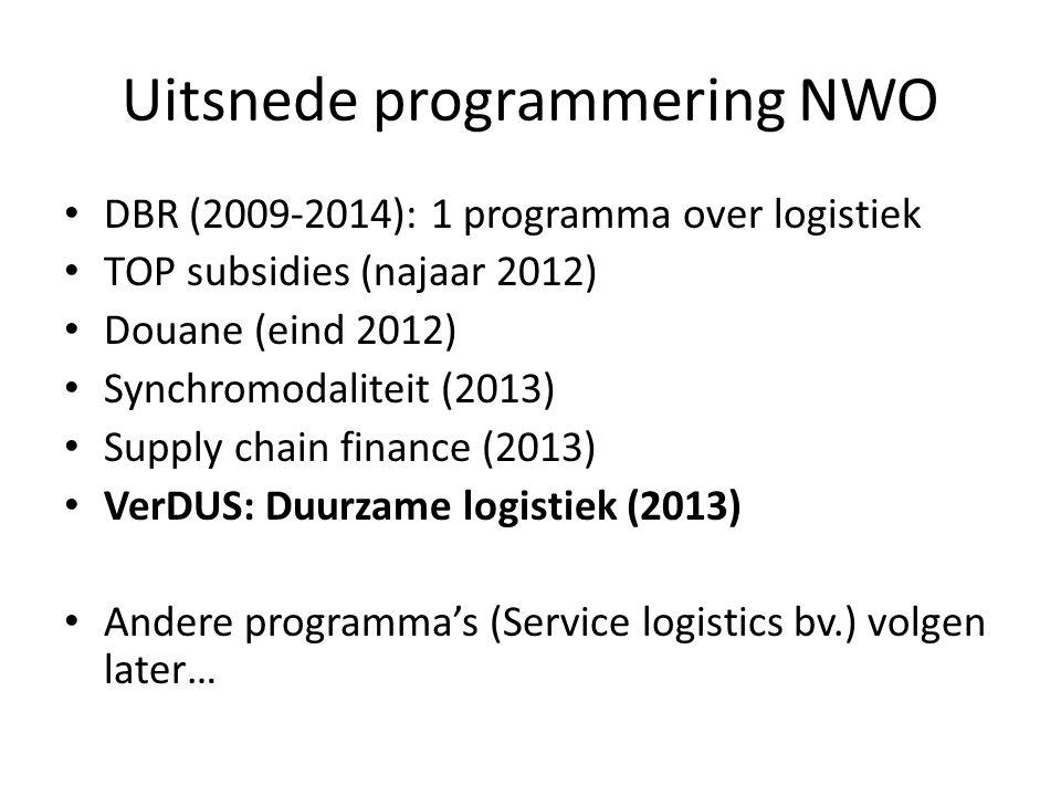 Uitsnede programmering NWO DBR (2009-2014): 1 programma over logistiek TOP subsidies (najaar 2012) Douane (eind 2012) Synchromodaliteit (2013) Supply