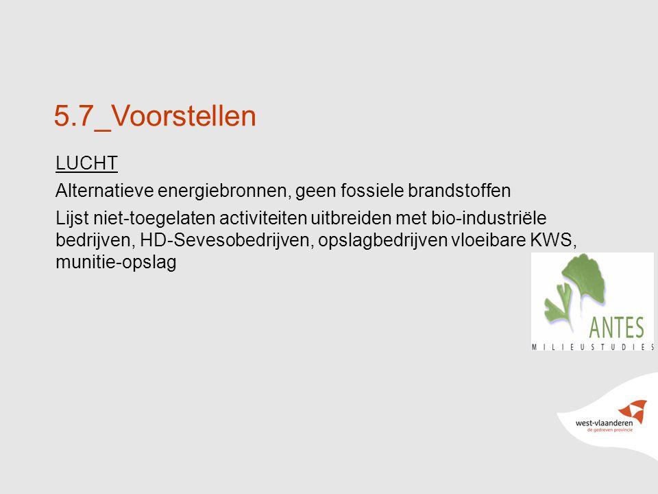 19 5.7_Voorstellen LUCHT Alternatieve energiebronnen, geen fossiele brandstoffen Lijst niet-toegelaten activiteiten uitbreiden met bio-industriële bedrijven, HD-Sevesobedrijven, opslagbedrijven vloeibare KWS, munitie-opslag