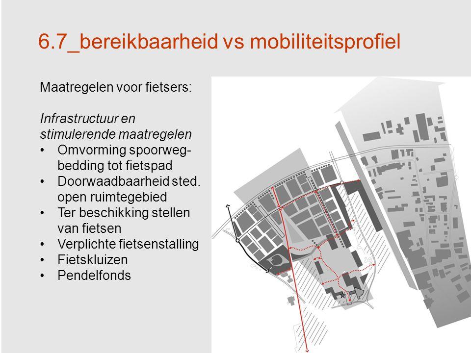 40 6.7_bereikbaarheid vs mobiliteitsprofiel Maatregelen voor fietsers: Infrastructuur en stimulerende maatregelen Omvorming spoorweg- bedding tot fietspad Doorwaadbaarheid sted.