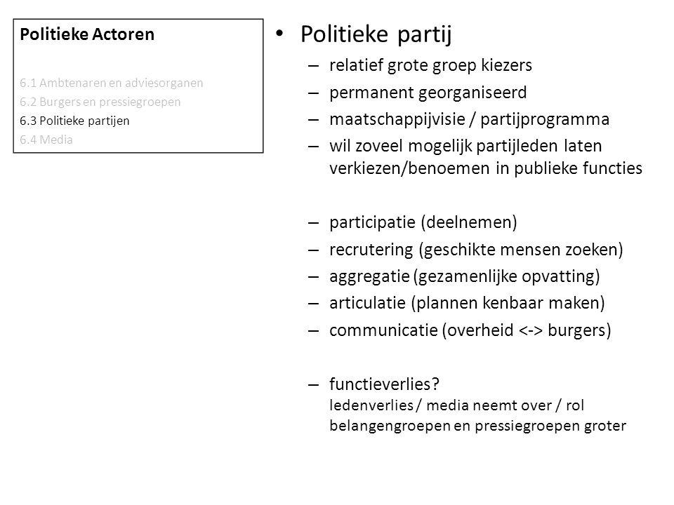 Politieke partij – relatief grote groep kiezers – permanent georganiseerd – maatschappijvisie / partijprogramma – wil zoveel mogelijk partijleden late