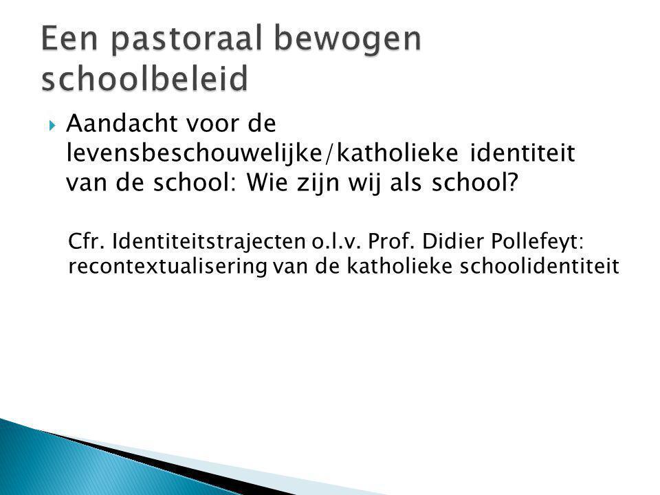  Aandacht voor de levensbeschouwelijke/katholieke identiteit van de school: Wie zijn wij als school? Cfr. Identiteitstrajecten o.l.v. Prof. Didier Po