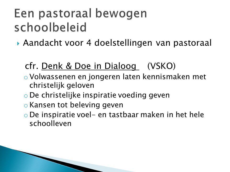  Aandacht voor 4 doelstellingen van pastoraal cfr. Denk & Doe in Dialoog (VSKO) o Volwassenen en jongeren laten kennismaken met christelijk geloven o