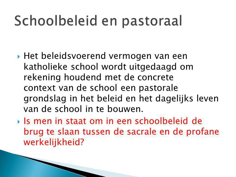  Het beleidsvoerend vermogen van een katholieke school wordt uitgedaagd om rekening houdend met de concrete context van de school een pastorale grond